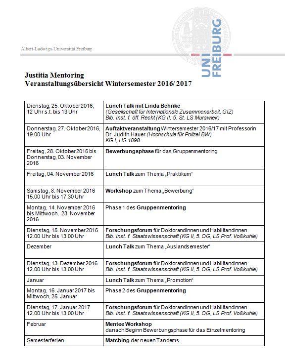 Veranstaltungsübersicht Wintersemester 2016/2017