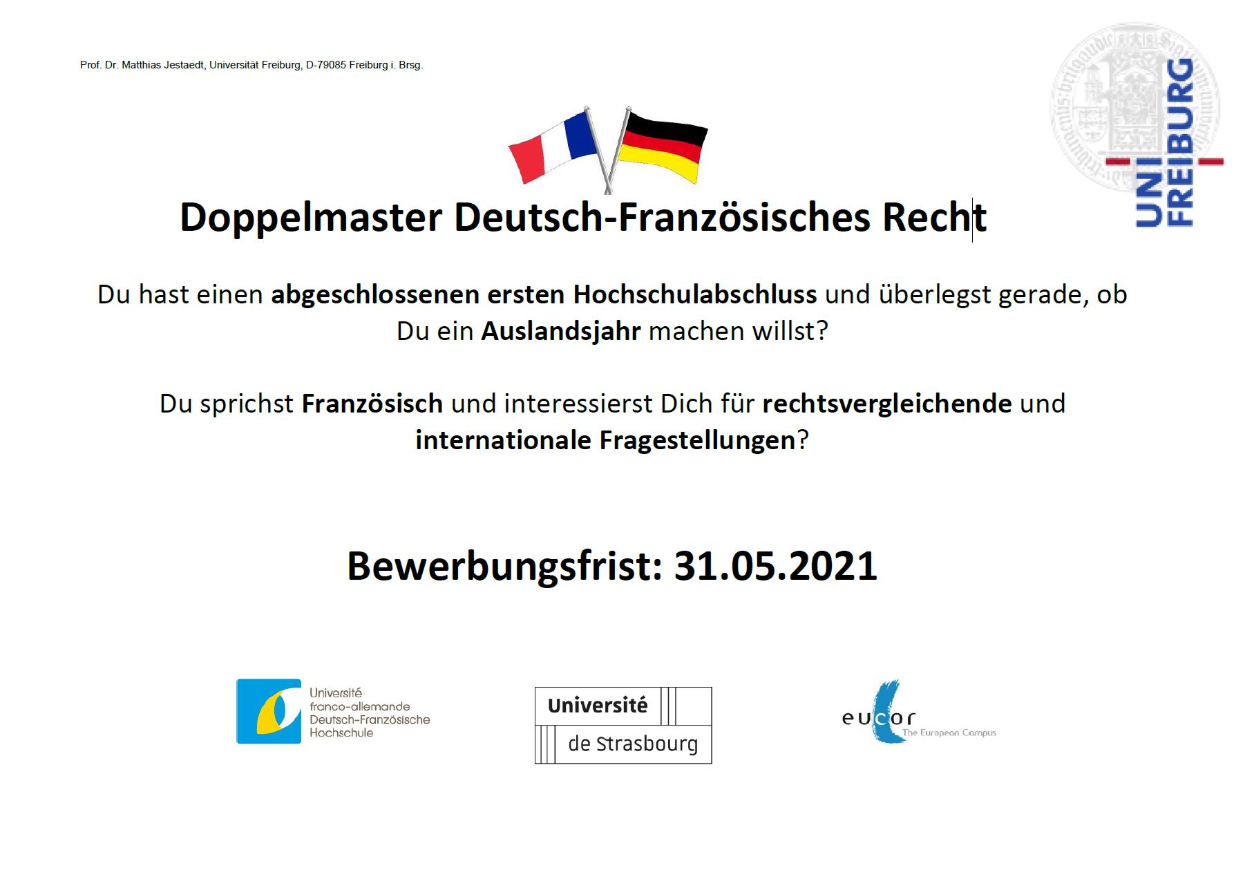 Bewerbungsfrist für den Deutsch-Französischen Doppelmaster